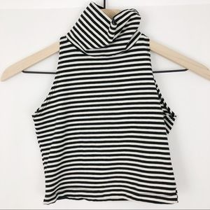 American Apparel Turtleneck Striped Crop Top |D03